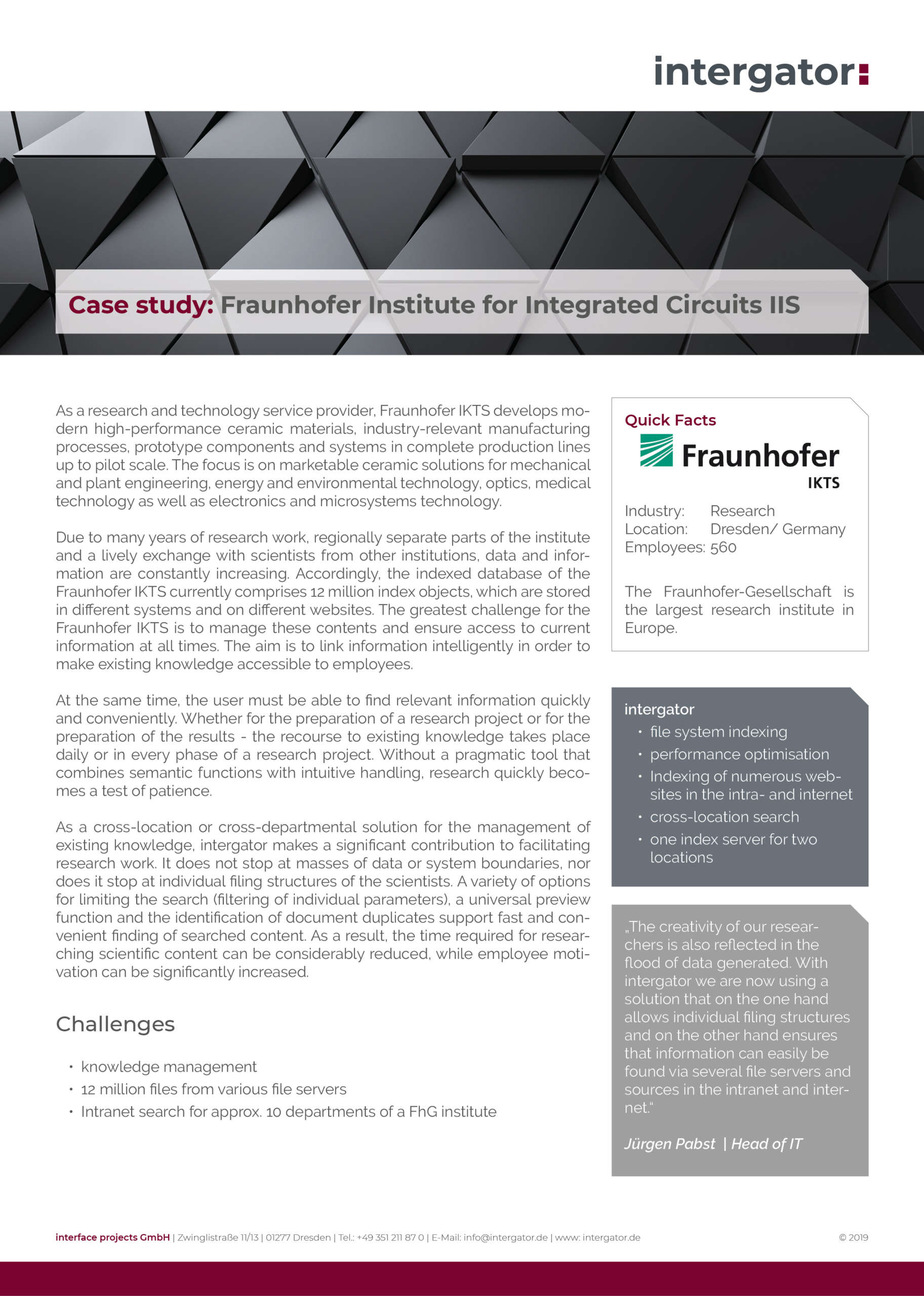 Case Study: Fraunhofer Institute for Ceramic Technologies and Systems