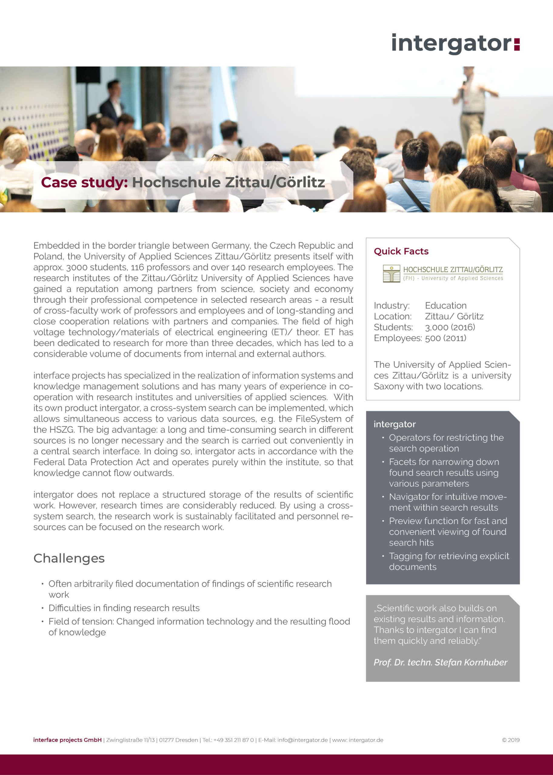 Case study: University of Zittau/ Görlitz
