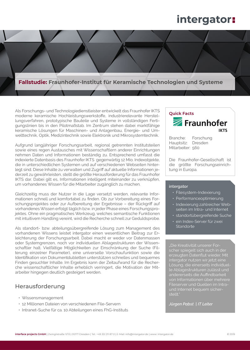 Fallstudie: Fraunhofer IKTS