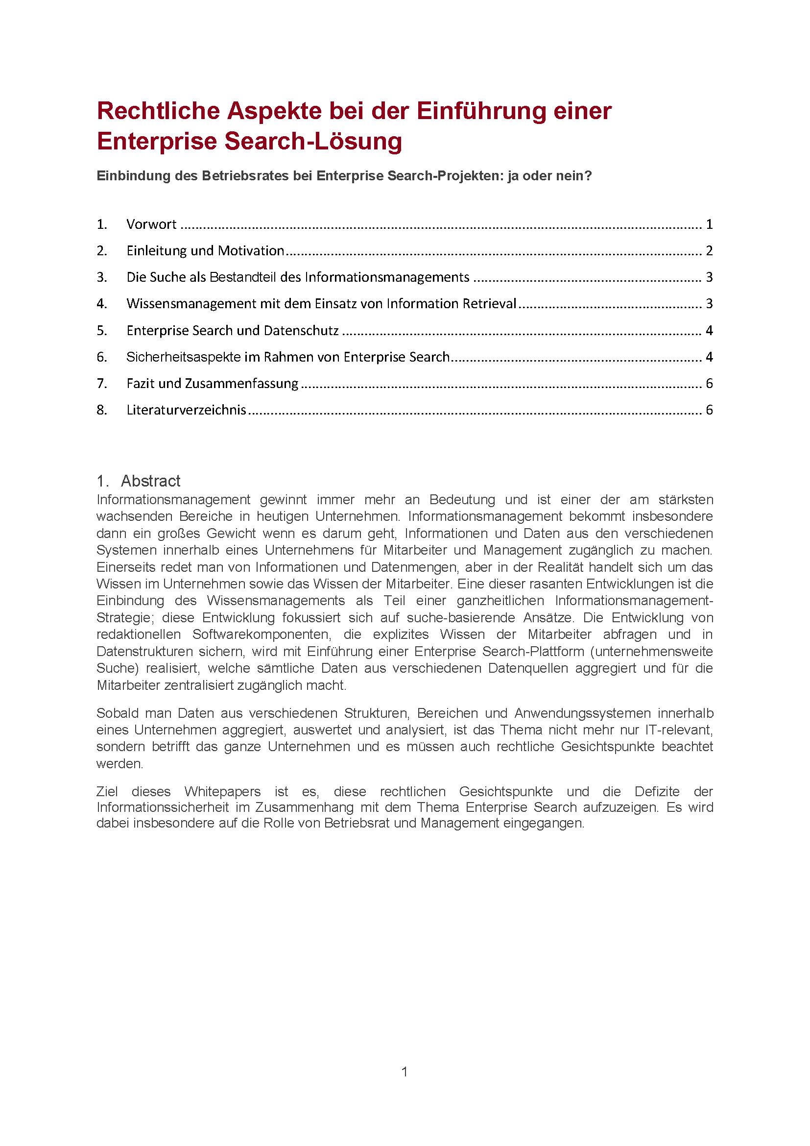 Whitepaper: Rechtliche Aspekte bei der Einführung einer Enterprise Search-Lösung