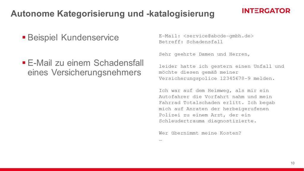 E-Mail Klassifizierung mit der intergator Smart Search